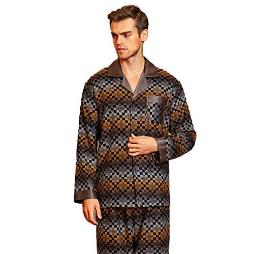 AXIANQIPJS Hombres Camiseta De Manga Larga Ropa De Dormir Conjunto De Pijama 100% Seda De Mora Ligeros Pantalones Espesados Cepillado Calentar Loungewear (Color : Brown, Size : XL)