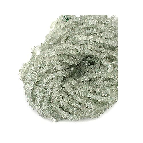 Crystallay 4-5MM de Piedras Preciosas de Amatista Verde Natural, Cuentas Sueltas de Artesanía de Piedra de viruta Irregular sin Cortar de Cristal para Hacer Joyas, 5 hebra de 36' Pulgadas