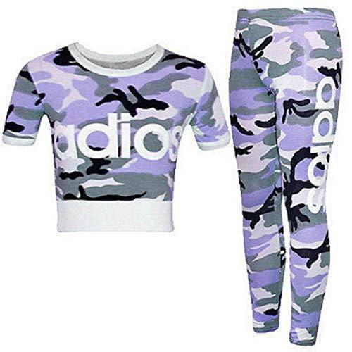 Janisramone Trainingsanzug für Kinder, Mädchen, Adios, Camouflage, Bauchfreies Oberteil, Leggings, 2-teiliges Set, 5–13 Jahre Gr. 13 Jahre, Armee Lila