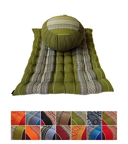 Collumino® - Set di cuscini da meditazione Zafu e Zambutan con fodera in cotone e imbottitura Kapok biologica Verde