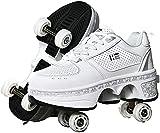MIAOML Scarpe da Slittino per Bambini, Scarpe Deformazioni per Passeggiate Bianche per Adulti, Scarpe da Corsa All'aperto con Ruota,White-EUR39/US8/UK5.5