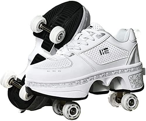 Rollschuhe Damen/Kinder, Schuhe Mit Rollen Für Mädchen, Rollerskates for Women/Kids Quad Roller Shoes, 2 in 1 Inline-Skates Jungen, Outdoor Sportschuhe Herren Skateboardschuhe,White-EUR39/US8/UK5.5