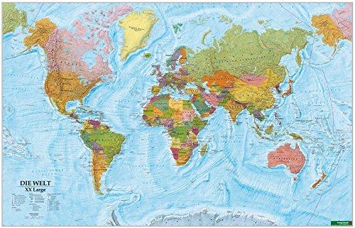 Wandkarte: Die Welt XXL, deutsch, Poster 1:20.000.000, Plano in Rolle (freytag & berndt Poster + Markiertafeln)
