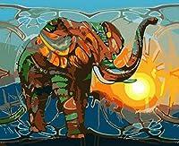 ペイントバイナンバー Diy キャンバス絵画 大人 初心者用 番号キット ブラシとアクリル顔料付き - カラーエレファント (16X20インチ/フレームレス)