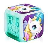 Reloj despertador digital de unicornio para niñas, reloj despertador LED con luz nocturna LED brillante cubo LCD para niños mujeres adultos dormitorio (B)