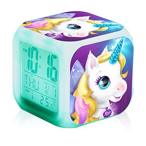 FILWO Einhorn Wecker Digital für Mädchen Kinder LED Einhornwecker BeleuchteterNight Glowing LCD Uhr mit Datum Temperatur Nachttischuhr Geschenke für Mädchen Jungen