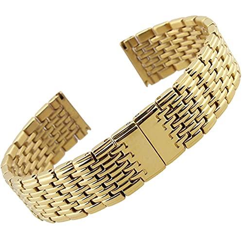 Correa de reloj inteligente de 18 mm, 20 mm, 22 mm, 13 mm, correa de repuesto Correa de muñeca con hebilla de mariposa sólida, compatible con pulsera de reloj inteligente (Color de la correa: Dorado,