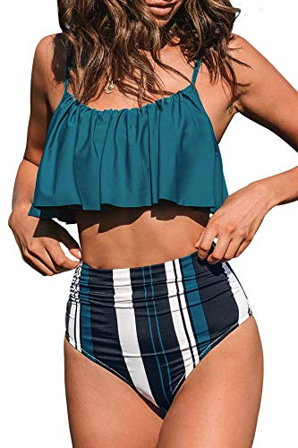 CUPSHE Women's High Waist Bikini Swimsuit Ruffle Striped Two Piece Bathing Suit, M Teal