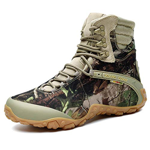 Femme Outdoor High-Top Suede Tactical Combat Boots Special-Ops Sports Non-Slip Boots Lace-up Hiking Trekking Shoes(37 EU, Sandy Camo)