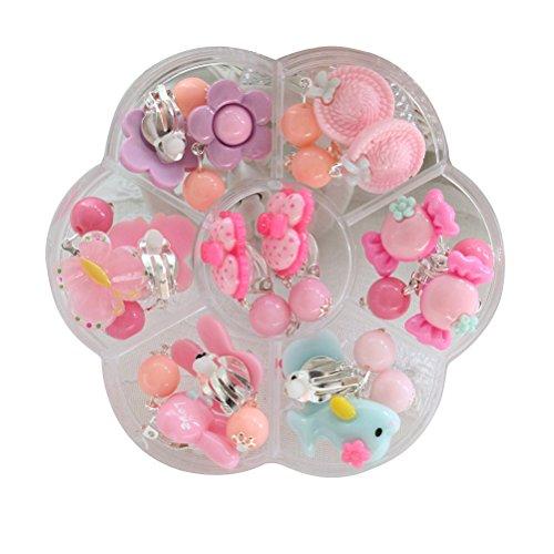 TOYMYTOY Orecchini Play Set orecchini su orecchini Regalo di compleanno per ragazze Dress-up, 7 paia