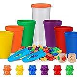 Japace Contar con los Osos de Colores Coordinados,Osos de Colores Coordinados con Vasos Apilables,Infantil Juguetes Montessori Clasificación,Juguetes Educativos 3 años,Juego de Combinación de Colores