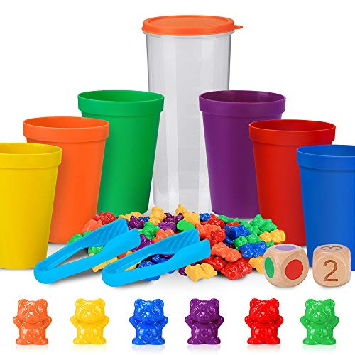 Zählbären Set Montessori Mathe Spielzeug für Kinder, 71 Stück Bunte Regenbogen Zählen Bären Spiel mit Passenden Sortierbechern Nummer Farberkennung Stapelspielzeug Lernspielzeug für Kleinkinder