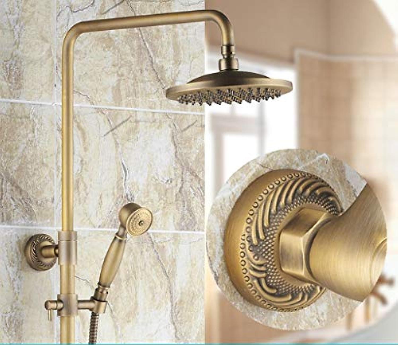 Whgz Die Erntezeit-Antique Shower Set Vollkupfer Europischen Duscharmatur Wandbrause Set, kann mit der Drehung angehoben Werden (Gre  G)