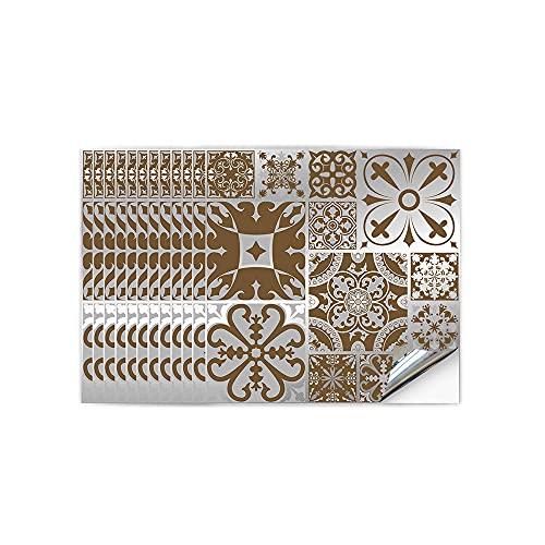 Hiseng 12 Piezas Adhesivos Decorativos para Azulejos Pegatinas para Baldosas del Baño/Cocina Estilo de Metal Moderno 3D Resistente al Agua Pegatina de Pared (Marruecos marrón,15 x 15cm)