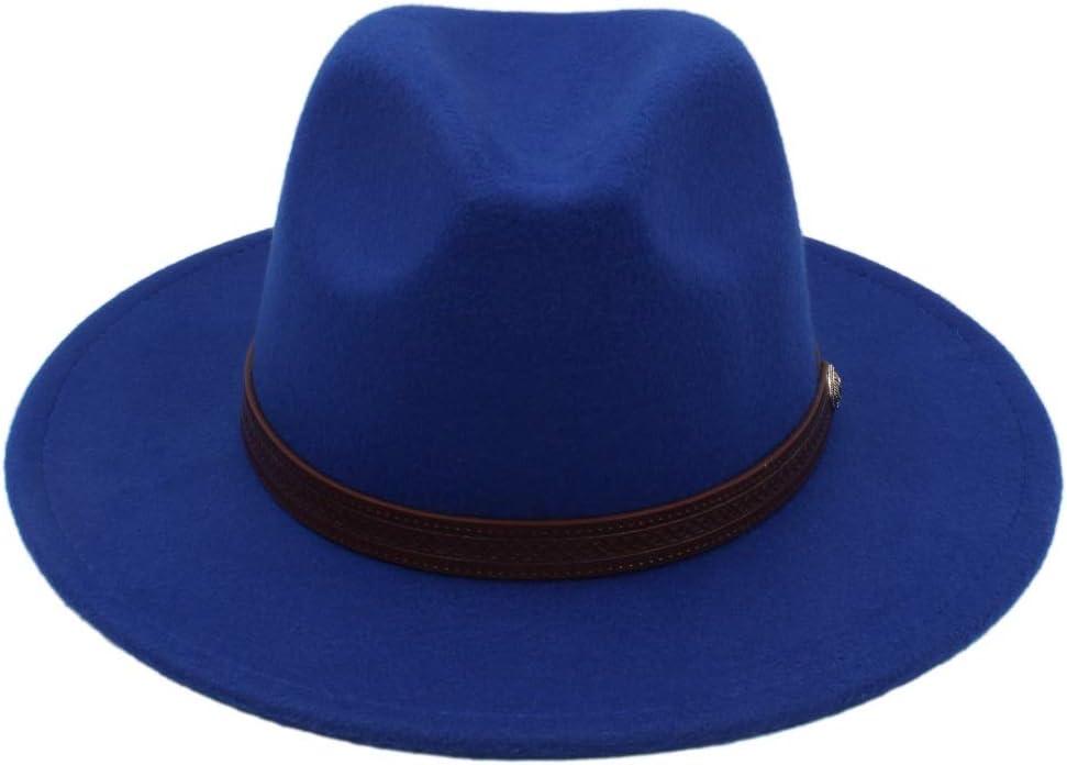 LHZUS Hats Winter Wool Fedora Hat with Fashion Belt for Men Panama Hat Wide Brim Church Fascinator Hat Travel Hat Size 56-58CM (Color : E Blue, Size : 56-58)