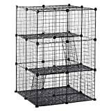 PawHut Pet Playpen DIY Small Animal Cage Enclosure Metal Wire Fence 39 Panels with 3 Doors 2 Ramps for Kitten Bunny Chinchilla Pet Mink Black