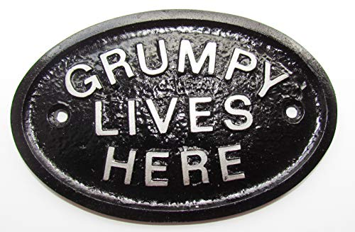 Artisan Silver Grumpy Lives Here Workshop Door Sign/House Sign in Black With Silver Raised Lettering