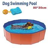 xuehaostore Piscina para Perros Plegable, Bañera para Perros Gatos, Natacion Mascotas-Rojo (80 * 30cm)
