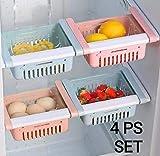 OSLEN Fridge Space Saver Organizer Slide Storage Rack Shelf Drawer, Fridge Storage containers for Vegetables, Fridge Storage Racks, Fridge Storage Boxes (Pack of 4)