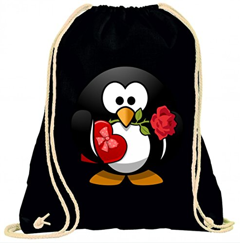 Druckerlebnis24 Turnbeutel Pinguin- Tier- Vogel- Feier- Pralinen- Blume- Herz- Liebe- Ehe- Gegenwart- Rose- Tux- Valentine mit Kordel - 100% Baumwolle- Gymbag- Rucksack- Sportbeutel
