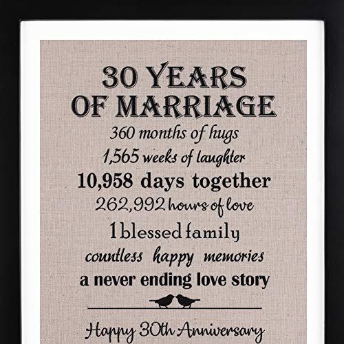 30th Anniversary Love Birds Burlap Print with Frame, 30th Wedding...