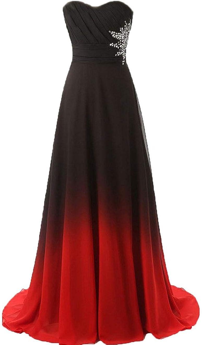 ZVOCY 価格交渉OK送料無料 Chiffon Ombre Prom Dresses for Women Black Bridesmai オリジナル
