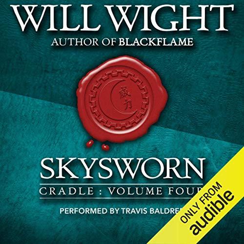 Diseño de la portada del título Skysworn