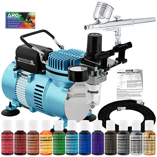 Master Airbrush Cake Decorating Airbrushing System Kit with a Gravity Feed Airbrush, Set of 12 Chefmaster Food Colors, Pro Cool Runner II Dual Fan Air Compressor - Hose, Holder, How To Guide, Cupcakes