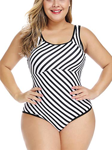 AdoreShe Women's One Piece Plus Size Tummy Control Swimwear Monokini Swimsuit Slimming Stripe Bathing Suits(A8837,XL) Black-White