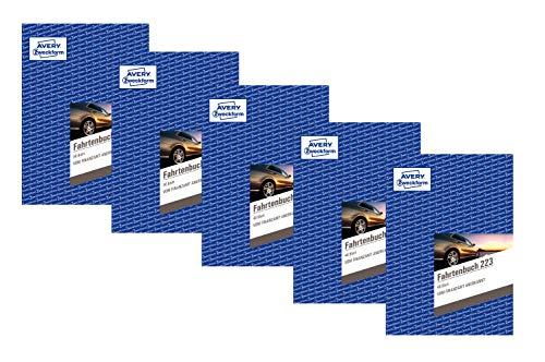 Avery Zweckform 223 Fahrtenbuch - A5, weiß (40 Blatt | PKW | DIN A5, 5 Stück)