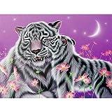 Powzz - Adorno 5D DIY diamantes pintura de diamante completo tigre Kiss 5D DIY salón dormitorio pintura