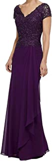 Women's Formal Beaded Lace Appliques Top Pleated Chiffon Skirt Mother of The Bride Dress