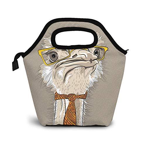 Divertido avestruz con gafas y corbata, pequeñas bolsas de almuerzo para mujeres, niños, caja de almuerzo aislada impermeable para el trabajo y la escuela