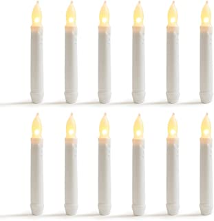 WYZworks 6.25 Set of 12 Warm White Flameless LED Taper Candles Mini Battery Operated Wax Dripped White Body - Batteries Not Included