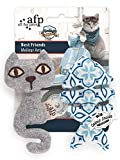 Vintage Pet Best Friends Katzenspielzeug Katze mit Fischgräte - grau