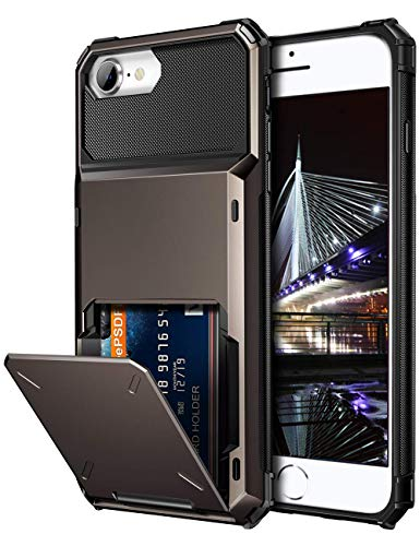 Vofolen for iPhone 6s Case iPhone 8 Wallet iPhone SE 2020 Case Credit Card Holder ID Slot Pocket Dual Layer Protective Bumper Rugged TPU Rubber Armor Hard Shell Cover for iPhone 6 6s 7 8 SE2 Gun Color