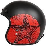 ZHXH Harley casco mezzo casco per motocicletta con casco da uomo e donna convertibile in fibra di vetro visiera con fibbia a sgancio rapido regolabile scooter stradale omologato DOT ECE (multicolore)
