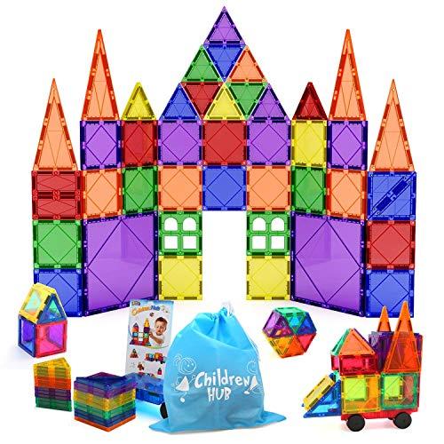 Children Hub 46pcs Magnetic Tiles Set - Educational 3D Magnet Building Blocks - Building Construction Toys for Kids - Upgraded Version with Strong Magnets - Creativity, Imagination, Inspiration