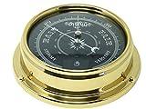 Tabic Prestige Traditional Brass Barometer with Jet Black Dial, Heavy Brass Case (1/2kg). Handmade in England