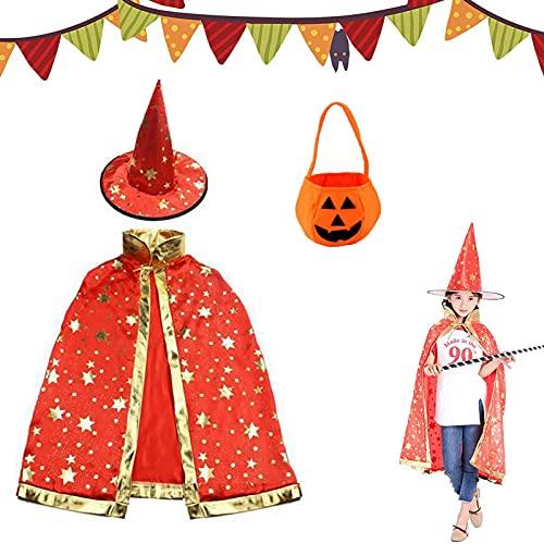 Tuofang Capa de Mago de Halloween para Ninos, Sombrero de Brujo de Halloween, Capa de Estrella con Sombrero, Bolsa de Caramelo de Calabaza, para Nios Nia Disfraz de Cosplay Fiesta (rojo)