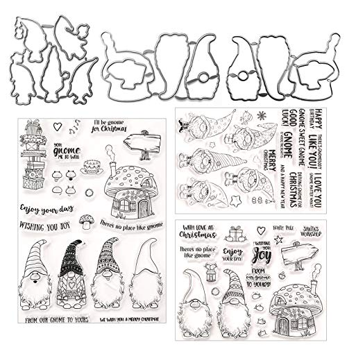 3 Sets Christmas Santa Claus Clear Stamps and Die Set Silicone Santa Hat Clear Stamps Sentiments Merry Christmas Words Stamps with Metal Cutting Dies for DIY Christmas Scrapbooking Decor