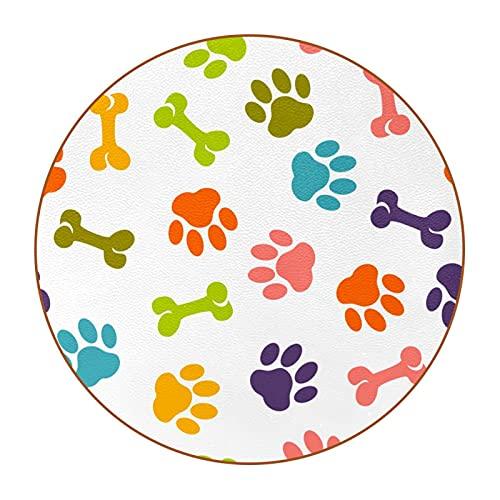 Stampa della zampa a colori Sottobicchieri Tondo Per Bicchieri - Set Di 6 - Design Coasters Bevande Sottobicchieri di Colore Per Bevande, Tazze, Bar 11cm