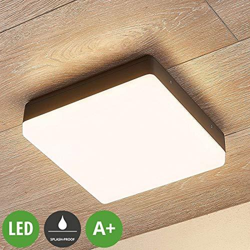 Lampenwelt LED Deckenleuchten 'Thilo' (spritzwassergeschützt) (Modern) in Weiß (1 flammig, A+, inkl. Leuchtmittel) - Außenleuchte für Garten, Terasse, Balkon & Haus, LED-Deckenleuchte