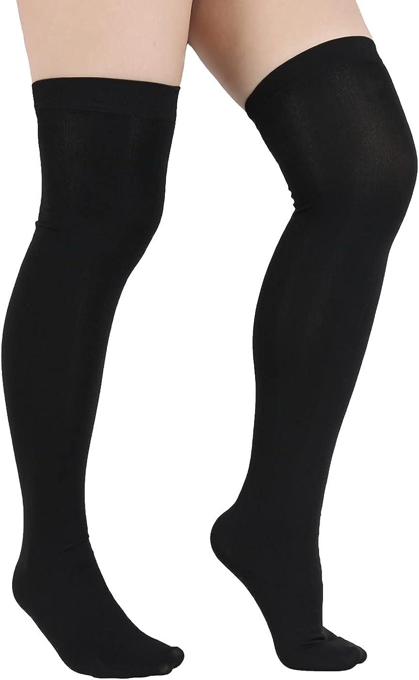 Black Thigh High Socks for Women Stockings Plus Size Grey Over Knee High Striped Sport Athletic Long Socks Girls Leg Warmers