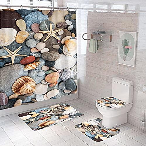 3D Gedruckter Duschvorhang 180x200 cm Graubrauner weißer Strandmuschelseestern Wasserdicht Antibakterielles Duschvorhang gesetzt Polyester rutschfest Badematte Waschmaschinenfest