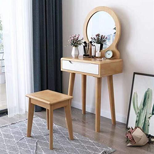 LUYIYI Massivholz Schminktisch mit Schminkspiegel und Make-up Hocker, Mädchen Schlafzimmermöbel, vollkommenes Geschenk Set (Color : C)
