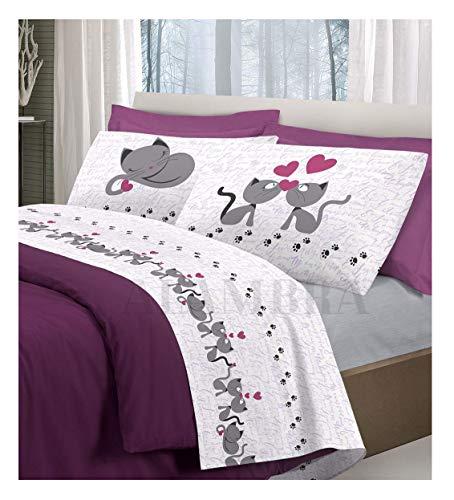 ALAMBRA - Juego de sábanas para cama de matrimonio de algodón con diseño de gatos y corazones, fabricado en Italia