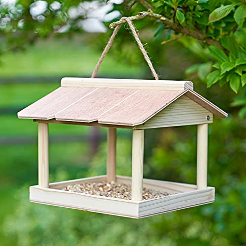 SA Products Hanging Bird Table - Garden Tree Feeding Station for Wildlife - Chic Natural Feeder - Easy to Install, Heavy Duty Wood, Weatherproof Wooden, Eco-Conscious - Outdoor Feed Tray with Roof