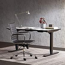 BELLEZE Mid-Back Faux Leather Adjustable Swivel Office Chair Soft Ribbed w/Armrest, Black