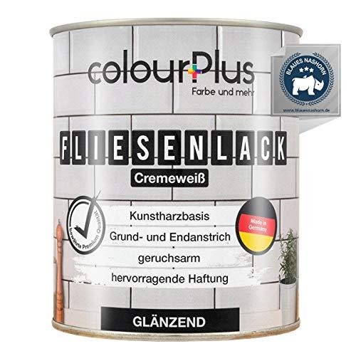 colourPlus® Fliesenlack (750ml, Cremeweiß) glänzender 1K Fliesenlack Weiß strapazierfähig - einfach Fliesen streichen - Made in Germany